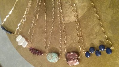 Semiprecious stone and pearl bar chain necklaces